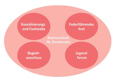 Die Grafik stellt das Verhältnis zwischen Koordinierungs- und Fachstelle, Federführendem Amt, Begleitausschuss und Jugendforum dar. Zusammen ergeben sie die Partnerschaft für Demokratie